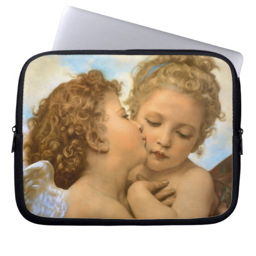 First Kiss by Bouguereau, Vintage Victorian Angels Computer Sleeves