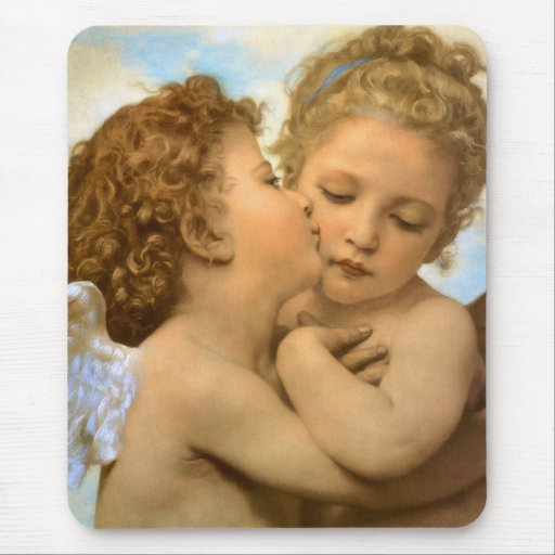 First Kiss by Bouguereau, Vintage Victorian Angels Mousepads
