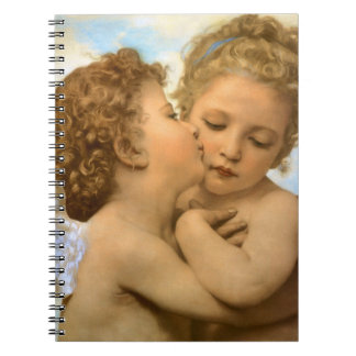 First Kiss by Bouguereau, Vintage Victorian Angels Spiral Note Book