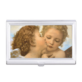 First Kiss by Bouguereau, Vintage Victorian Angels Case For Business Cards