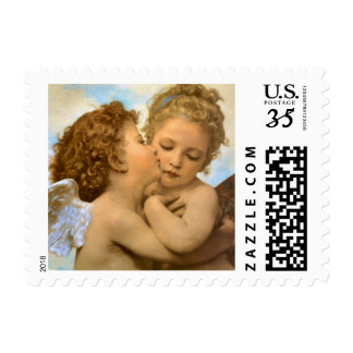 First Kiss by Bouguereau, Vintage Victorian Angels Postage Stamp