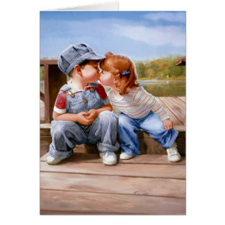 First Kiss Greeting Card - Horizontal