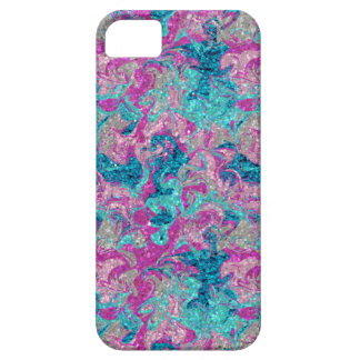 First Kiss Marbleised Glitter Pink Teal Silver iPhone 5 Cases