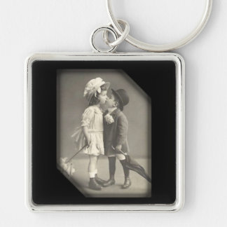 First Kiss Vintage Photograph Key Chain