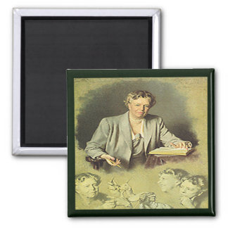 First Lady Anna Eleanor Roosevelt 2 Inch Square Magnet