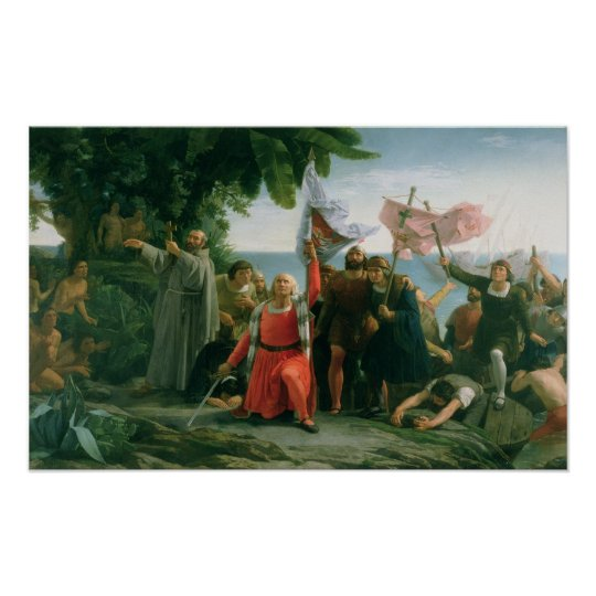 First Landing of Christopher Columbus in Poster