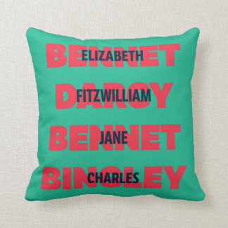 First & Last Names of Pride & Prejudice Characters Throw Pillow
