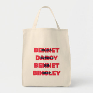 First & Last Names of Pride & Prejudice Characters Tote Bag