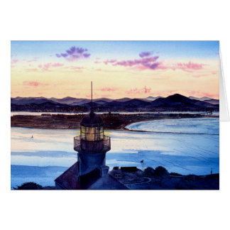 FIRST LIGHT, CABRILLO LIGHTHOUSE GREETING CARD