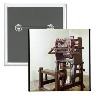 First loom for weaving stockings, 1750 pinback button