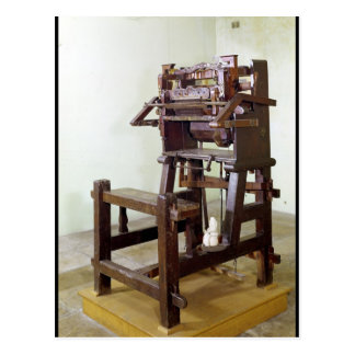 First loom for weaving stockings, 1750 post card