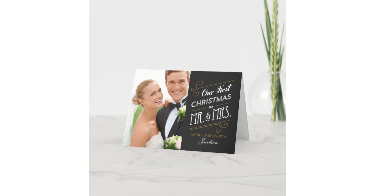 First Married Christmas Holiday Greeting Card | Zazzle.com