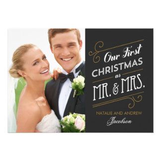 First Married Christmas Holiday Photo Card