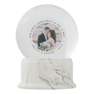 First Married Christmas Personalized Wedding Photo Snow Globe