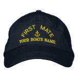 First mate custom yacht crew embroidered baseball cap