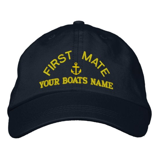 First mate custom yacht crew embroidered baseball cap
