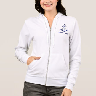 First Mate Customizable Nautical Anchor and Rope Hoodie