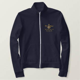 First Mate Golden Star Nautical Anchor Your Text Embroidered Jacket