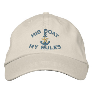 First Mate His Boat My Rules White Star Anchor Embroidered Baseball Cap