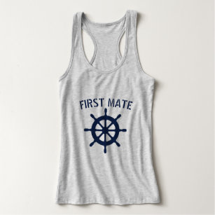 Compass Fishing Boat Wheel Men/'s SLEEVELESS T-shirt First Mate