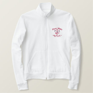 First Mate Nautical Star Anchor Monogram and Text Embroidered Jacket
