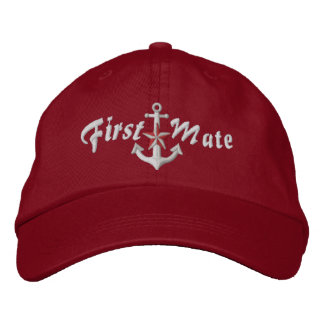 First Mate Nautical Star Anchor White Embroidered Baseball Hat