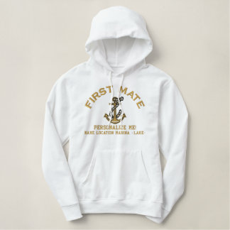 First Mate Personalize it LARGE Anchor Emboidered Embroidered Hoodie