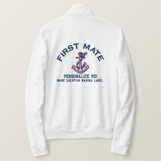 First Mate Personalize it LARGE Anchor Emboidered Embroidered Jacket