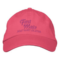 FIRST MATE Personalized Boat Name Your Name Embroidered Baseball Cap