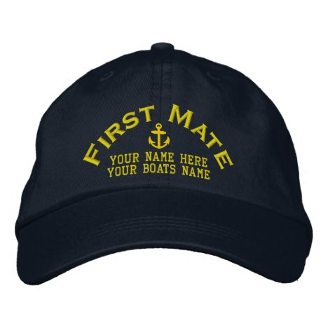 First mate sailing boat crew embroidered baseball cap