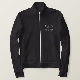First Mate Silver Star Nautical Anchor Your Text Embroidered Jacket