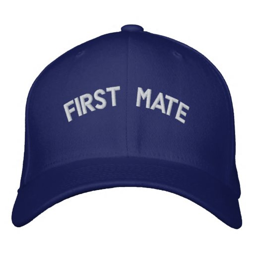 First mate text embroidered baseball hat