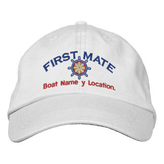 First Mate Wheel Your Boat Name Your Name or Both! Embroidered Baseball Caps