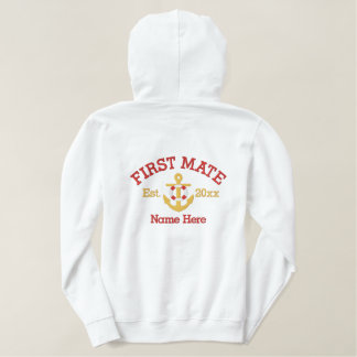 First Mate - With Anchor customizable Embroidered Hoodie
