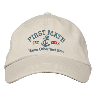 First Mate With Anchor Personalized Baseball Cap