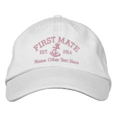 First Mate With Anchor Personalized Embroidered Baseball Cap at Zazzle