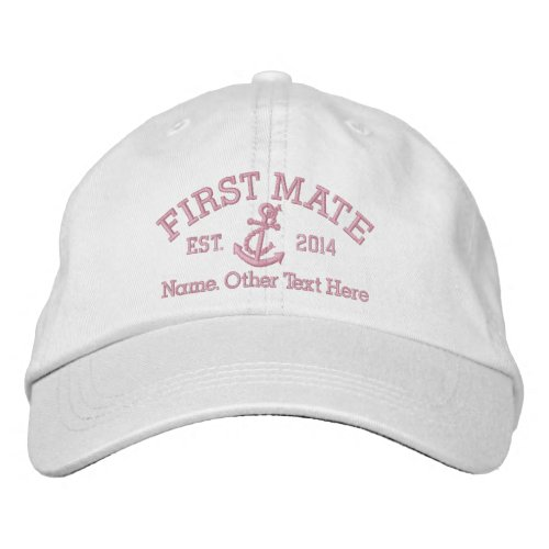 First Mate With Anchor Personalized Embroidered Baseball Cap