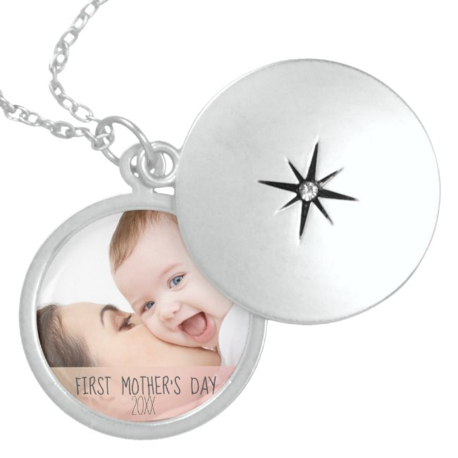 First Mothers Day New Mom and Baby Photo Locket Necklace