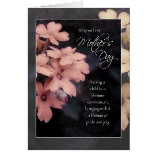 First Mother's Day, Peach Garden Phlox Flowers Card