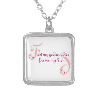 First My Goddaughter© Forever My Friend Square Pendant Necklace