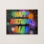 "[ Thumbnail: First Name ""Alan"", Fun ""Happy Birthday"" Jigsaw Puzzle ]"