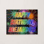 "[ Thumbnail: First Name ""Alejandro"", Fun ""Happy Birthday"" Jigsaw Puzzle ]"