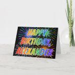 "[ Thumbnail: First Name ""Alexander"" Fun ""Happy Birthday"" Card ]"