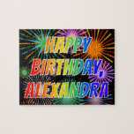 "[ Thumbnail: First Name ""Alexandra"", Fun ""Happy Birthday"" Jigsaw Puzzle ]"