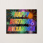 "[ Thumbnail: First Name ""Alexandria"", Fun ""Happy Birthday"" Jigsaw Puzzle ]"