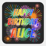"""[ Thumbnail: First Name """"Alice"""", Fun """"Happy Birthday"""" Sticker ]"""