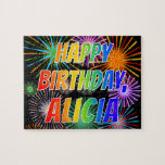 "[ Thumbnail: First Name ""Alicia"", Fun ""Happy Birthday"" Jigsaw Puzzle ]"
