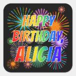 """[ Thumbnail: First Name """"Alicia"""", Fun """"Happy Birthday"""" Sticker ]"""