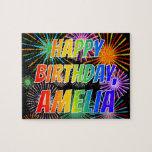 """[ Thumbnail: First Name """"Amelia"""", Fun """"Happy Birthday"""" Jigsaw Puzzle ]"""