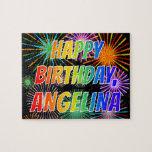"[ Thumbnail: First Name ""Angelina"", Fun ""Happy Birthday"" Jigsaw Puzzle ]"